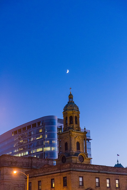 Crescent Moon Over Church
