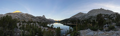 Middle Rae Lakes panoramic view, including Fin Dome