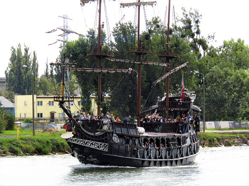 View of the galleon Black Pearl on the Motława River in Gdansk