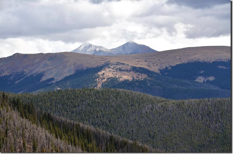 Looking east at Grays & Torreys Peaks from Ptarmigan Peak Trail near 11,600 ft