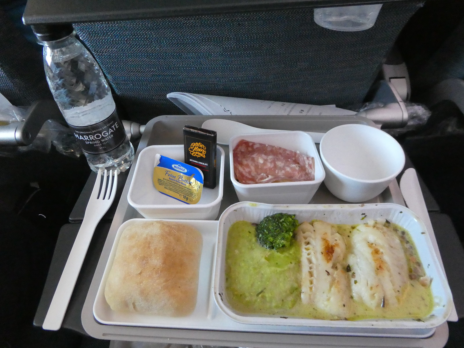 Lunch served on board our Cathay Pacific flight from Manchester to Hong Kong