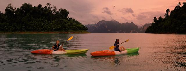 Kayaking through the lush and overgrown waterways deep in National Park Khao Sok