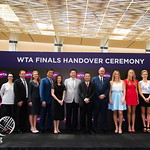 WTA CEO Steve Simon, Elina Svitolina, Kristina Mladenovic, Timea Babos, Tournament Officials