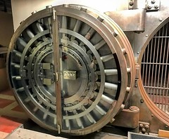 In the basement of our new California office, which was originally a bank, are several vaults with these amazingly cool vault doors. This is the biggest one. I can't imagine anyone ever being able to break into a vault like this. #oceans11