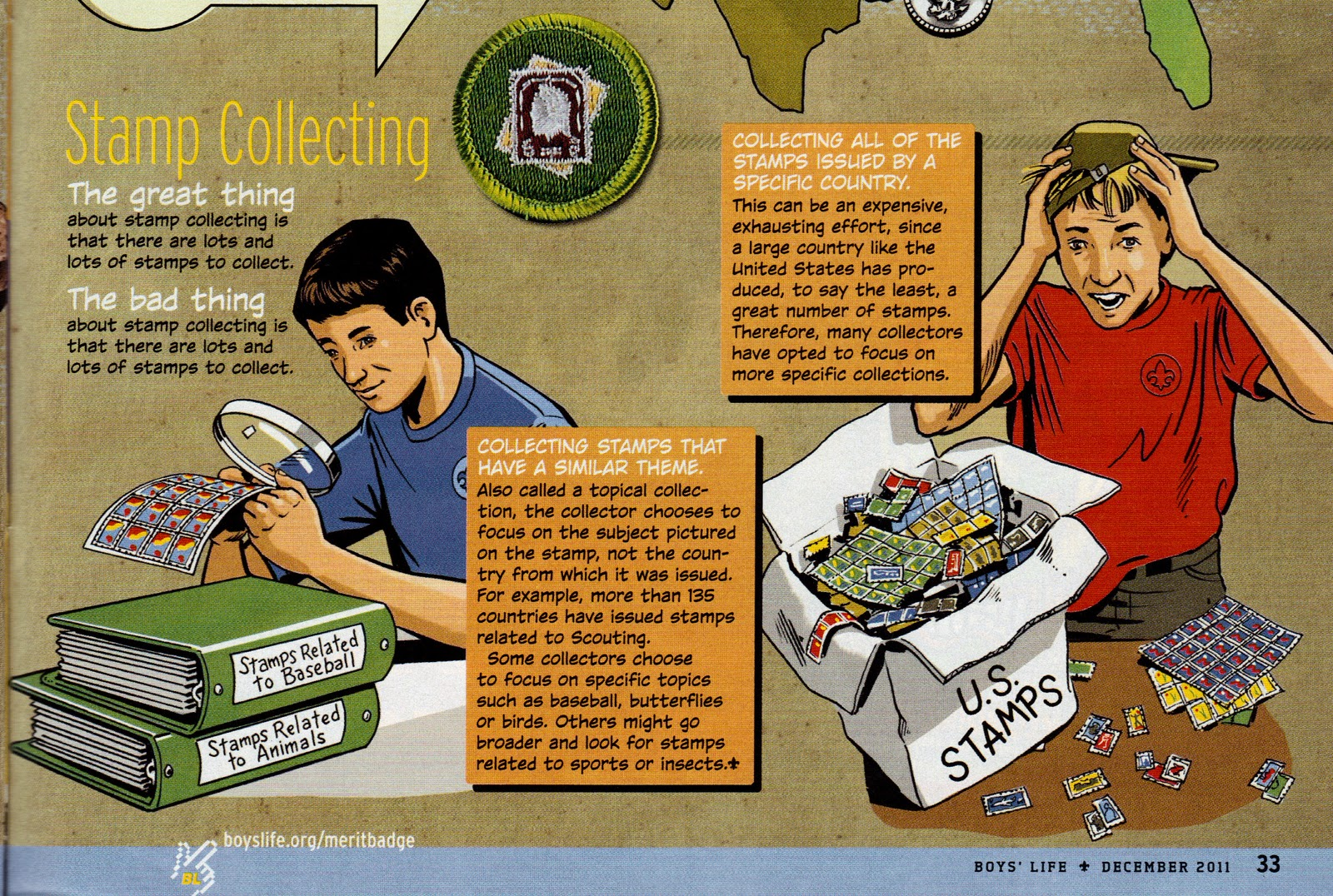 Illustration from Boy's Life, the magazine published by Boy Scouts of America, December 2011 edition.