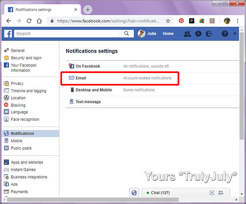 To change the amount of email notification you receive from Facebook select 'Email' in 'Notifications settings'.