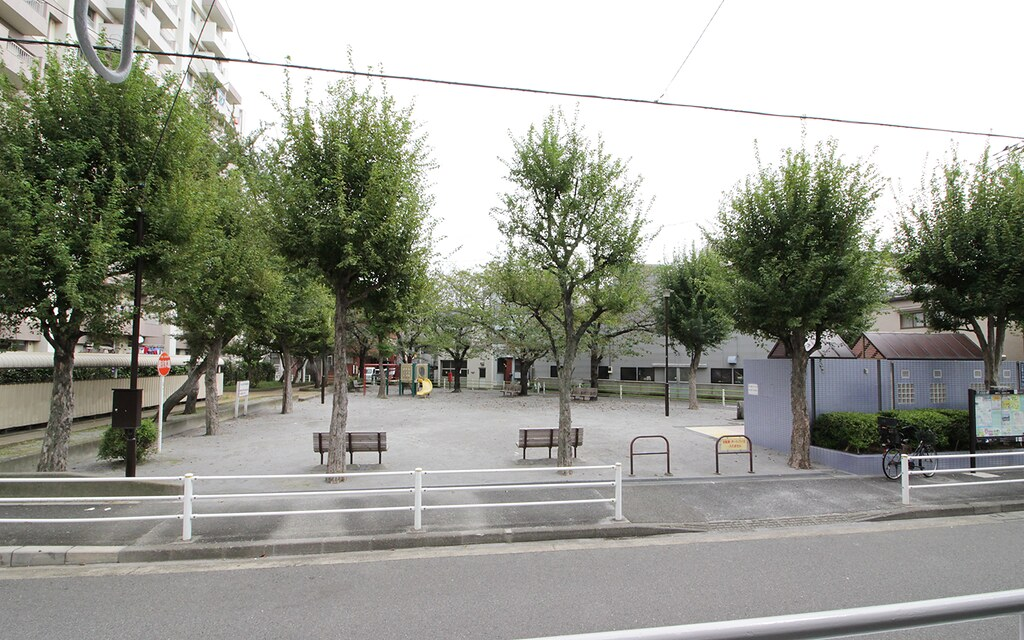 バルコニーから見たマンション前の公園