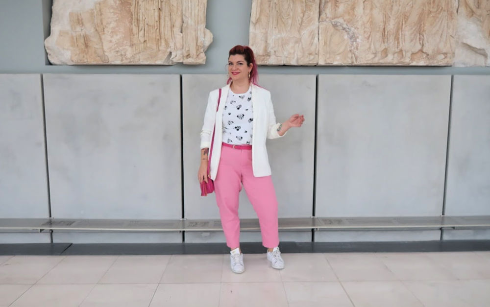 Outfit plus size bianco e rosa (2)