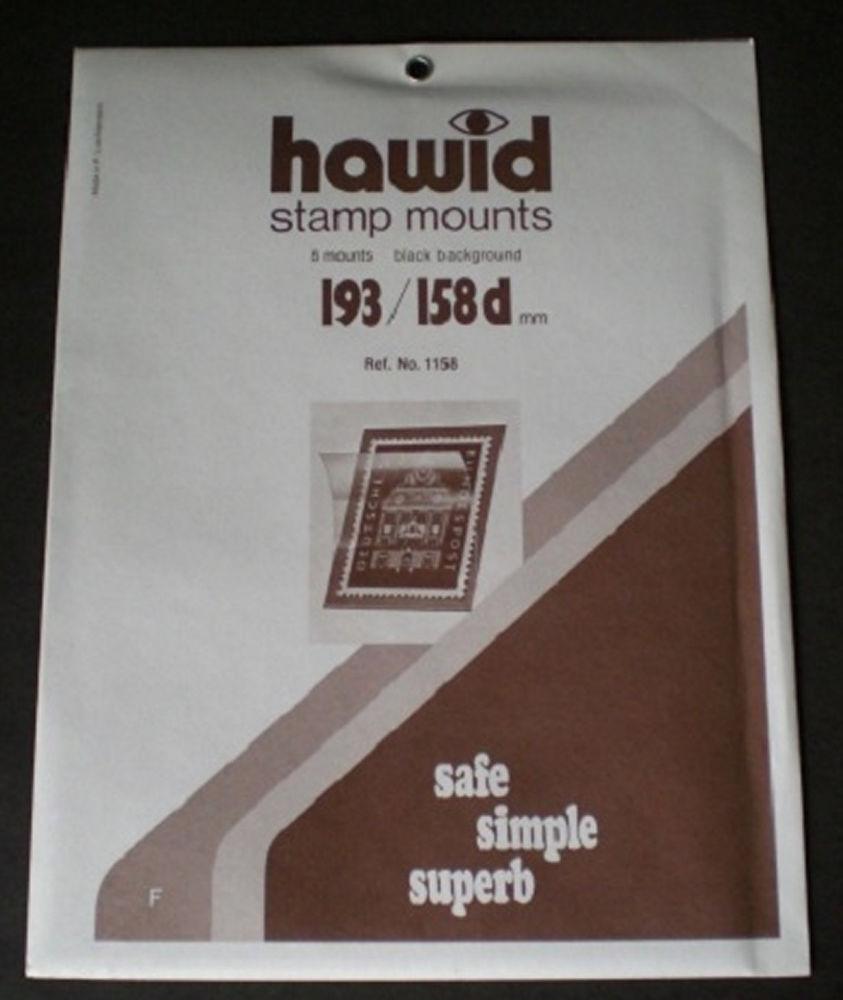 Package of Hawid brand black-background stamp mounts