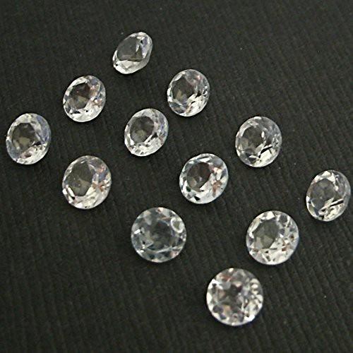 natural white crystal quartz round faceted loose gemstone