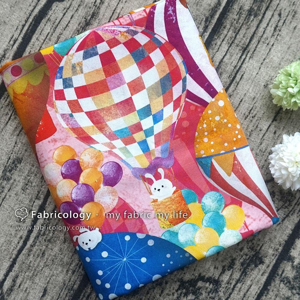 布學盒裝印花布(1y)小兔樂氣球 手工藝DIY布料 SW001809-6