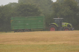 Claas Axion 800 Tractor with a Broughan Engineering Mega HiSpeed Trailer
