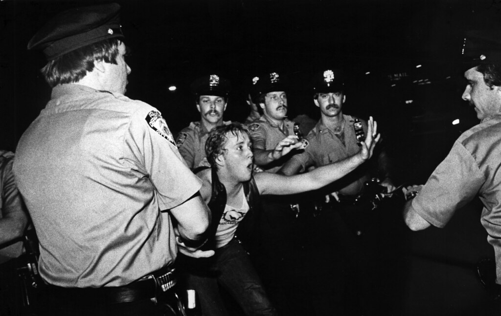 A scene during the 1969 Stonewall riots, as seen in Kate Davis a