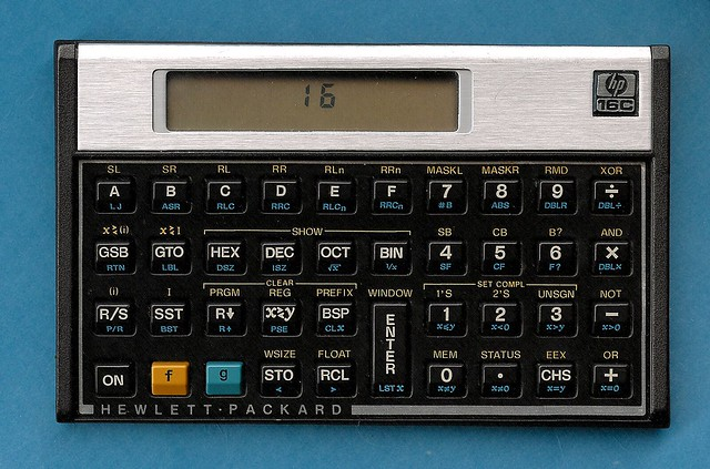 HP 16C calculator at end of keyboard test displays '16', on blue background