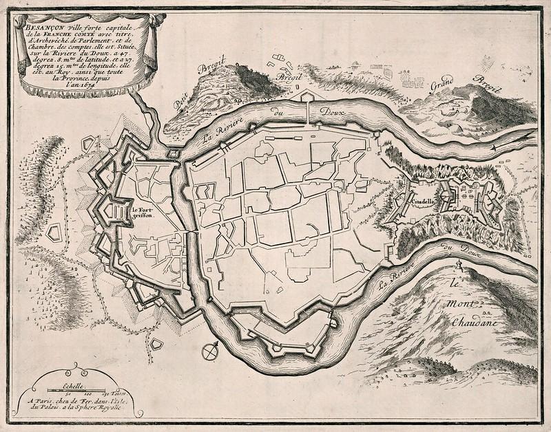 Nicolas de Fer - Besancon, ville forte capitale, de la Franche Comte avec titre d'Archeveche (1696)