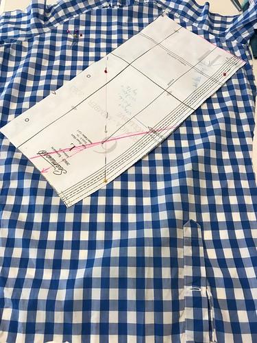 shirt-shirtdress construction pocket facing cutting on bias