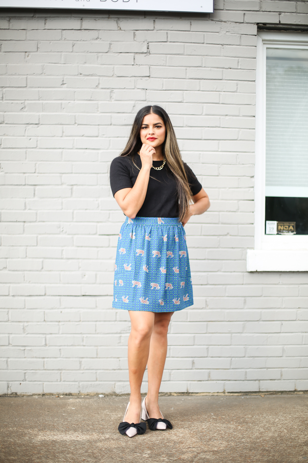 Priya the Blog, Nashville fashion blog, Nashville fashion blogger, Nashville style blog, Nashville style blogger, Fall outfit with graphic skirt, J.Crew tiger skirt, Zara block bow heels, wear to work outfit for Fall, how to wear a chunky gold chain necklace, J.Crew Factory tiger skirt, Fall office outfit, Fall fashion, Zara heels