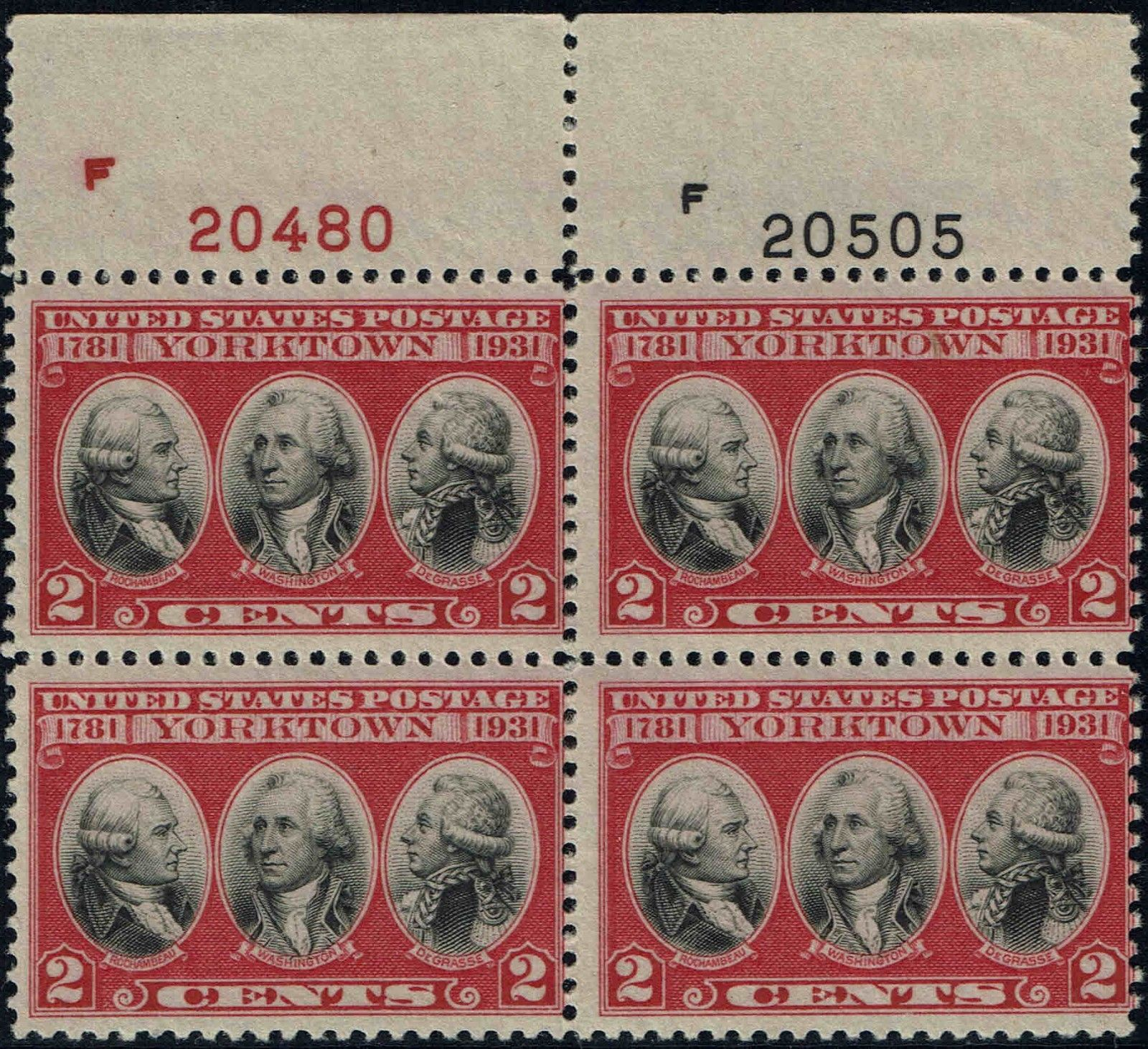United States - Scott #703 (1931) block of four with carmine and black plate numbers from top of sheet