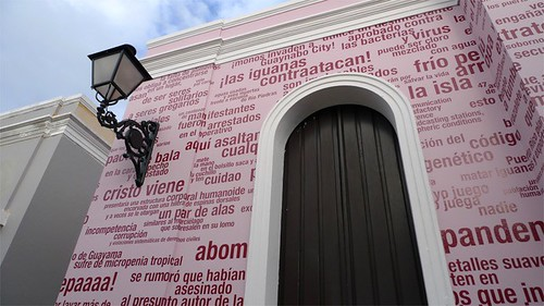 Revolú*tion, site-specific public intervention with adhesive vinyl, 3rd Poly/Graphic Triennial, San Juan, PR, 2012. Artist Nayda Collazo-Llorens
