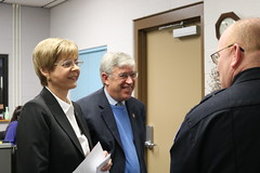 Reps. Zawistowski and Storms speak with Suffield Police Chief Richard Brown