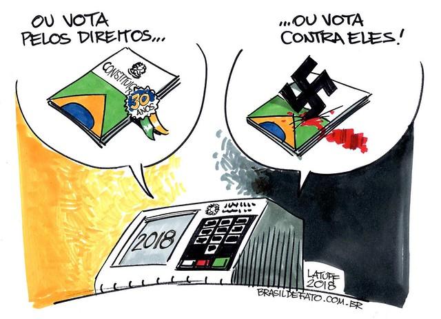 Votar pelos direitos ou contra eles - Créditos: Latuff