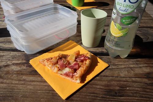Stück Pizza Hawaii und Vio Bio Limonade (bei Mittagsrast im Osnabrücker Zoo)