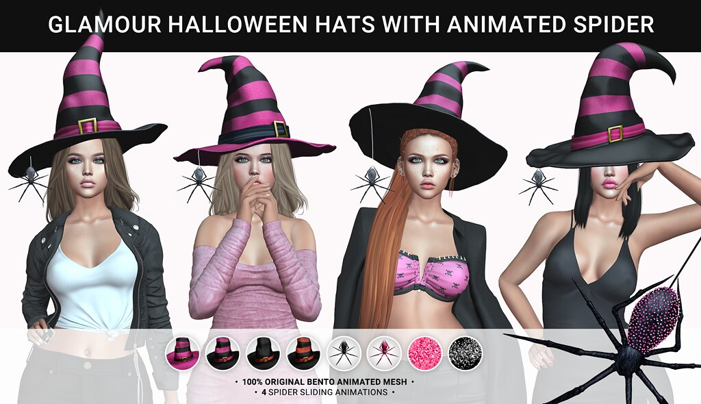 SEmotion Libellune Glamour Bento Animated Halloween Hats & Spiders