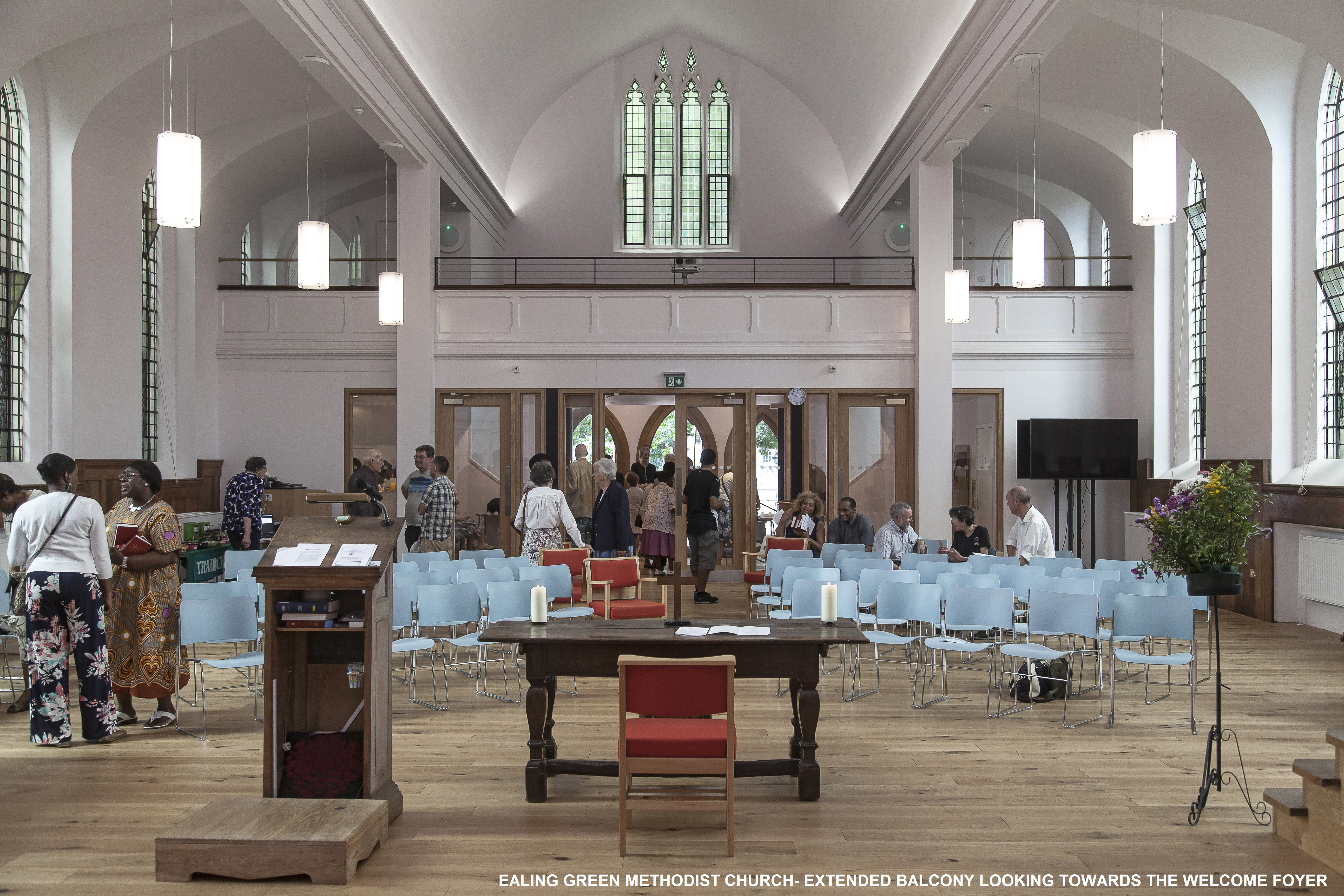 Ealing Green Church, extended balcony looking towards the Welcome foyer