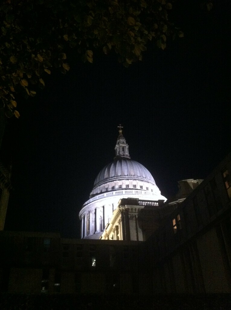 London skyline by night: St Paul's Cathedral