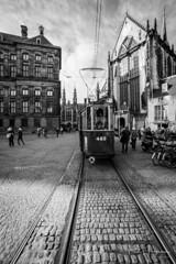 Tram and church @ Dam square