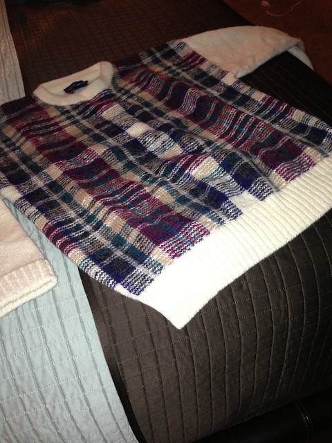 Paul's plaid sweater-After 20 years I'm letting go of the sweater. It's heading down to Juarez to keep someone warm. Dad would like that, huh