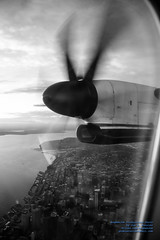 B&W Look Down at Downtown Seattle From A Q400