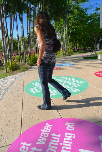 Pleasure, Fear & the Pursuit of Happiness, temporary public intervention with adhesive vinyl at the Miami Beach Botanical Garden, Miami Beach, FL, 2013. Artist Nayda Collazo-Llorens