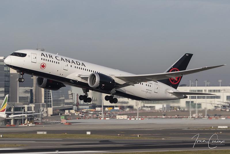 Boeing 787-8 Dreamliner – Air Canada – C-GHPQ – Brussels Airport (BRU EBBR) – 2018 11 03 – Takeoff RWY 19 – 02 – Copyright © 2018 Ivan Coninx
