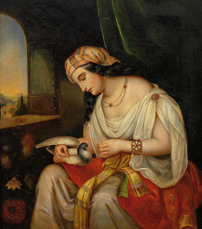 Young lady in oriental clothing with a homing pigeon (19th century painting)