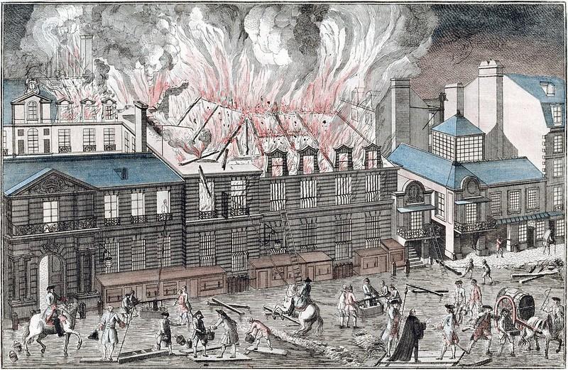 Vue du feu prit à la Salle de l'Opéra de Paris le 6 avril 1763