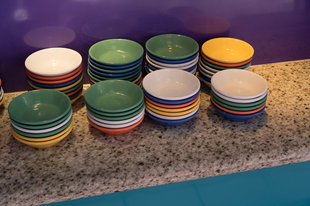 Colorful plates and bowls at Chef Mickey's