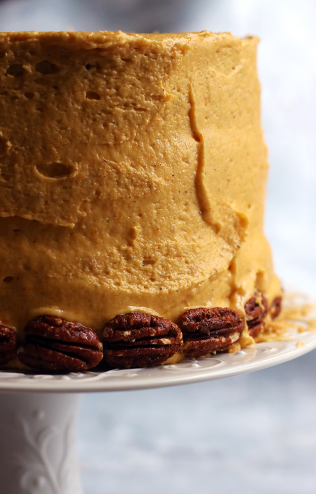 Vanilla Chai Cake with Pumpkin-White Chocolate Ganache and Pumpkin Chai Buttercream