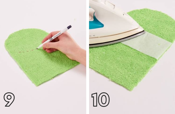 Frog Wash Cloth Steps 9 10