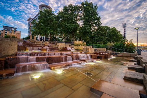 hdr nikon nikond5300 northshoretrail pennsylvania pittsburgh watersteps city clouds downtown fountain geotagged longexposure morning sky sunrise tree trees urban water waterfall unitedstates