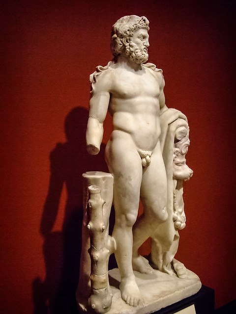 Herakles (Hercules) Roman 100-200 CE Marble with traces of pigment (2)