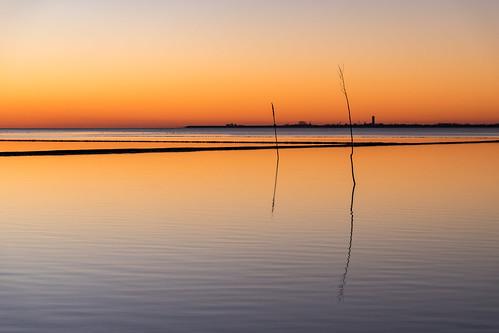Sunset Husum near floodgate