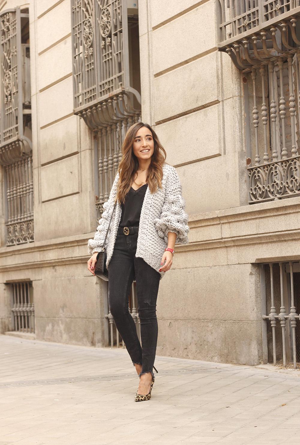 Grey cardigan black jeans folli folie watch leopard print heels starbucks tea street style fall outfit 201802