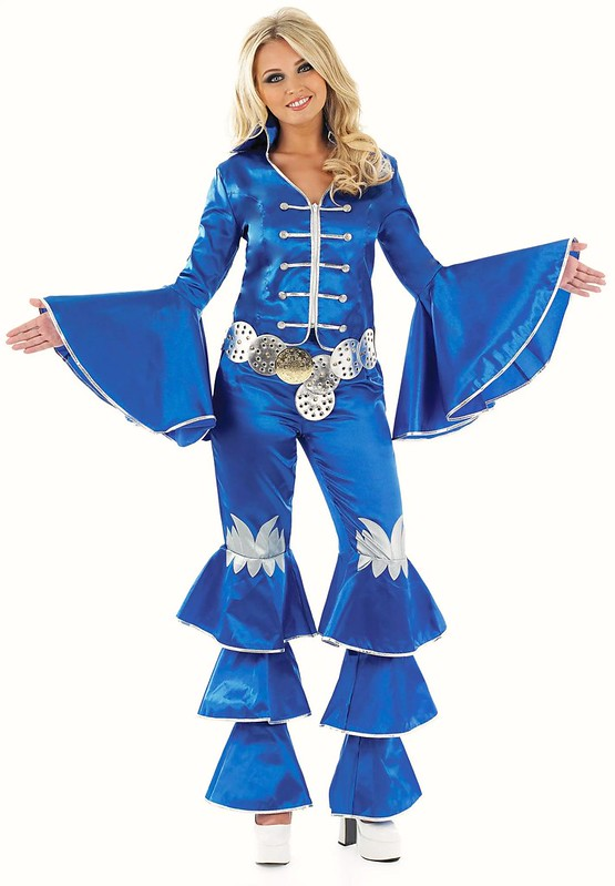 ladies 70's dancing queen blue fancy dress costume music
