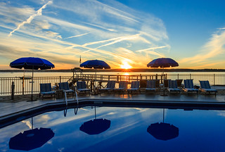 Poolside Sunset At The Spruce Point Inn