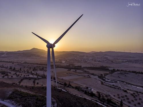 aerial dji drone mavicair tersefanou turbines wind sun sunset cyprus summer