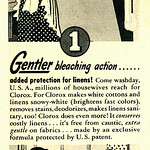 Sat, 2018-10-13 18:41 - Caption: 2 Great Features! They're both yours in Clorox! Gentler bleaching action... Greater disinfecting efficiency...  Published in Family Circle magazine, November 1950, Vol. 37 No. 5  Fair use/no known copyright. If you use this photo, please provide attribution credit; not for commercial use (see Creative Commons license).