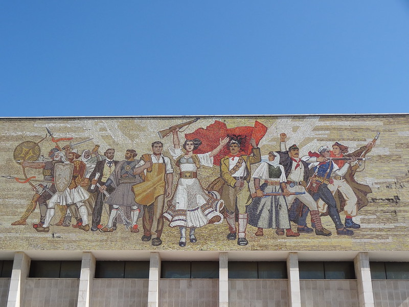 Mosaic over the main entrance of the National Historical Museum, Skanderbeg Square, Tirana