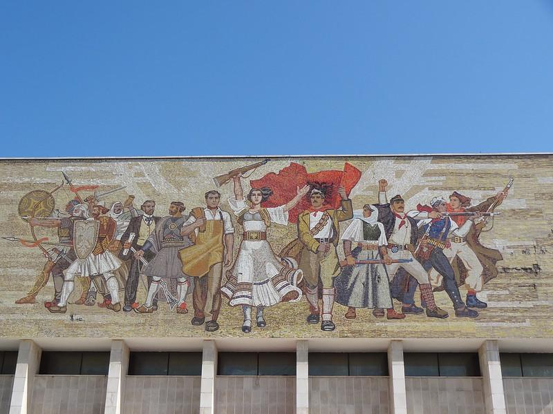Mosaic over the main entrance of the National Historical Museum, Skanderbeg Square, Tirana