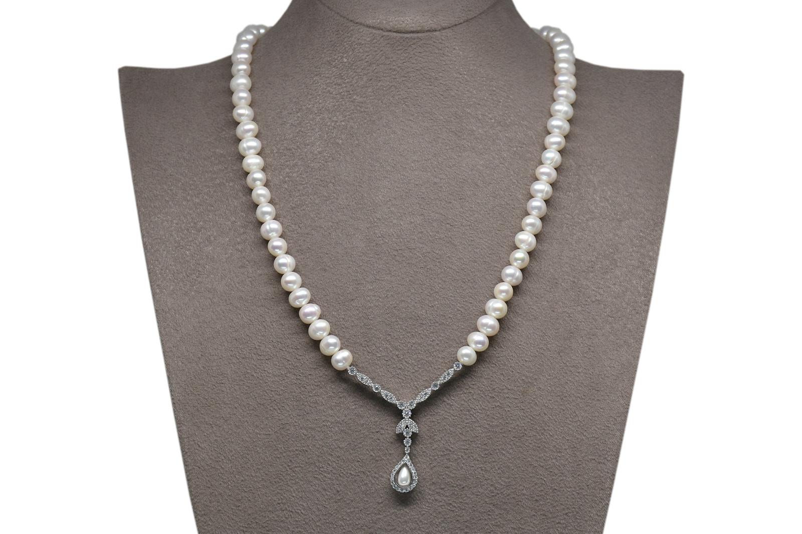 - Ahsen 925K Gümüş Klipsli Doğal Beyaz inci Kolye AH-00098